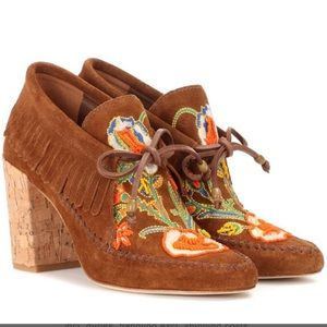 TORY BURCH Huntington Suede Embroidered Booties